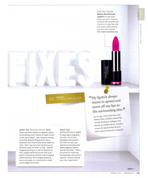 Motives by Loren Ridinger lipstick featured in New Beauty magazine