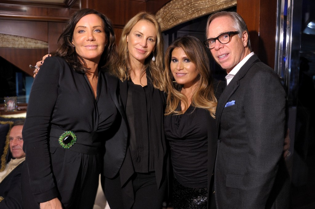(from right) Tommy Hilfiger, Loren Ridinger, Dee Hilfiger, and guest