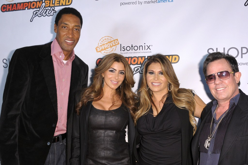 (from left) Scottie Pippen, Larsa Pippen, Loren Ridinger and JR Ridinger